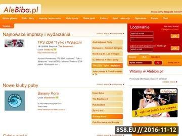 Zrzut strony AleBiba.pl - imprezowy portal społecznościowy