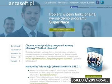 Zrzut strony Program kadrowy i płacowy SuperPłace firmy Anzasoft