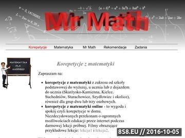 Zrzut strony Korepetycje z matematyki. Rozwiązywanie zadań z matematyki.