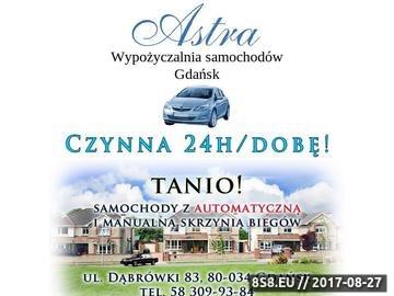 Zrzut strony Astra Car - wynajem samochodów Gdańsk Trójmiasto