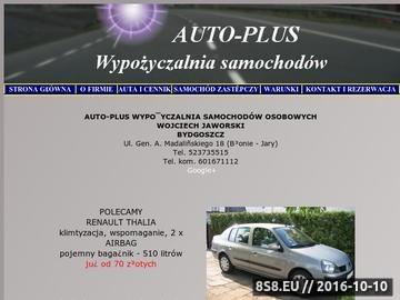 Zrzut strony AUTO-PLUS Wypożyczalnia samochodów Bydgoszcz, Toruń, lotnisko, Rent a car