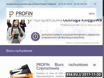 Zrzut strony PROFIN SP. Z O.O. biuro rachunkowe