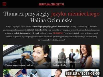 Zrzut strony Rejestracja auta i tłumaczenia