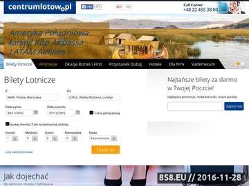 Zrzut strony Centrum Lotów - Sprzedaż i rezerwacja tanich biletów lotniczych online