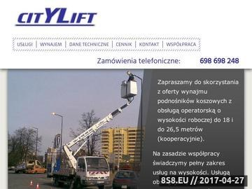 Zrzut strony City Lift - wynajem podnośników koszowych