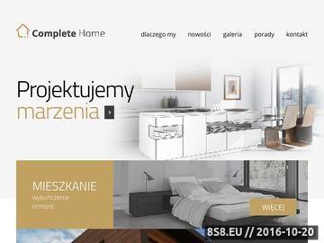Zrzut strony Firma Complete Home oferuje kompleksowe remonty i wykończenia