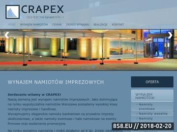 Zrzut strony CRAPEX-namioty imprezowe, wynajem namiotów Warszawa