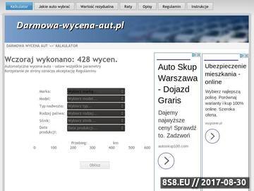 Zrzut strony Kalkulatory wycen aut