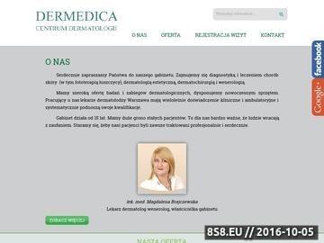 Zrzut strony Dermedica oferuje usługi medyczne w zakresie dermatologii.