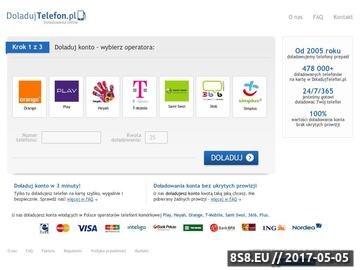 Zrzut strony Doładowania telefonu przez Internet