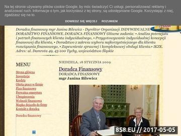 Zrzut strony Doradca finansowy I mgr Janina Bilewicz
