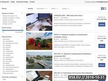 Zrzut strony Informacje o dotacjach unijnych dla firm, rolników i samorządów
