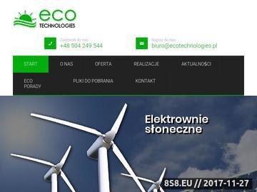 Zrzut strony Eco Technologies - elektrownie słoneczne i wiatrowe, solary, turbiny wiatrowe