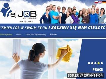 Zrzut strony Agencja pracy oferuje usługi rekrutacyjne i kursy zawodowe.