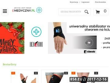 Zrzut strony EMedyczny.pl w ofercie m. in. orteza stawu kolanowego, orteza stawu skokowego