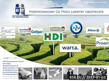 Zrzut strony E&M Ubezpieczenia Dąbrowa Górnicza, Sosnowiec i Będzin
