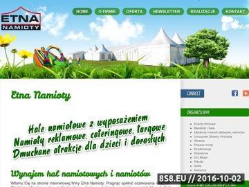 Zrzut strony Etna Namioty - wynajem: namioty, hale namiotowe, dmuchane atrakcje dla dzieci
