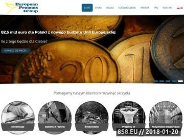 Zrzut strony EuroPG - pozyskiwanie funduszy europejskich, dotacje, doradztwo, inwestycje