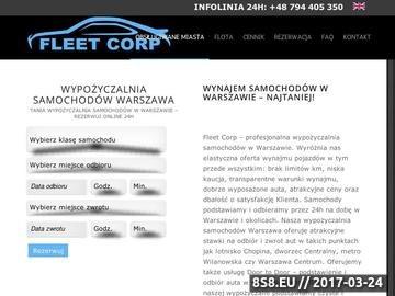 Zrzut strony Fleetcorp wynajem aut