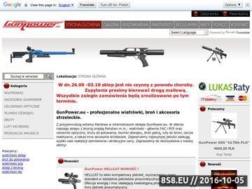Zrzut strony Sklep z bronią oferujący internetową sprzedaż najlepszych modeli wiatrówek.