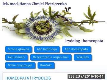 Zrzut strony Hanna Chmiel-Pietriczenko lekarz irydolog-homeopata przyjmuje w Żorach i Katowicach.