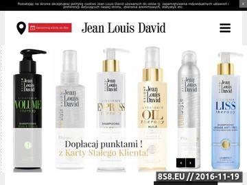 Zrzut strony Strona przedstawia ofertę salonów fryzjerskich Jean Louis David