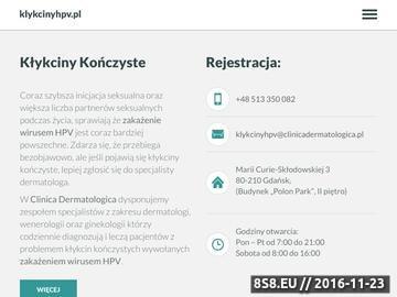 Zrzut strony Klinika oferuje diagnozę i leczenie wirusa HPV (kłykciny)