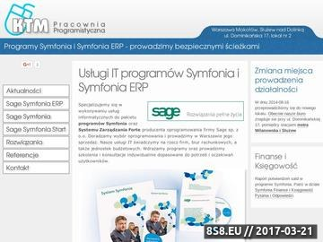 Zrzut strony Program Symfonia Kadry i Płace wdrożenia Warszawa KTM Pracownia Programistyczna