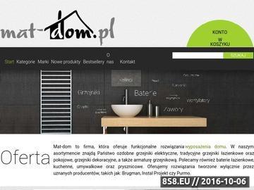 Zrzut strony Mat-dom.pl oferuje grzejniki łazienkowe