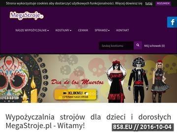 Zrzut strony Wypożyczalnia strojów dla dzieci i dorosłych - Megastroje.pl