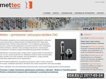 Zrzut strony Mettec oferuje profesjonalną obróbkę metali metodą CNC
