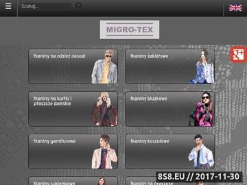 Zrzut strony MIGRO-TEX tkaniny