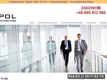 Zrzut strony Usługi detektywistyczne, ustalenia, weryfikacje i obserwacje