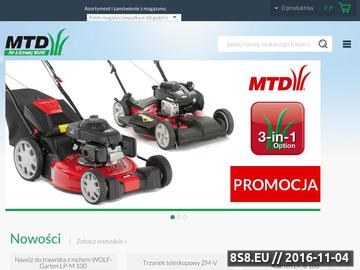 Zrzut strony MTD to sklep z narzędziami i urządzeniami ogrodniczymi.