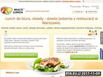 Zrzut strony Multilunch.pl - zamów jedzenie na wynos z 50 restauracji w Warszawie.