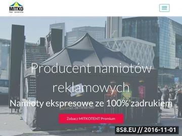 Zrzut strony Namioty reklamowe, handlowe, z nadrukiem