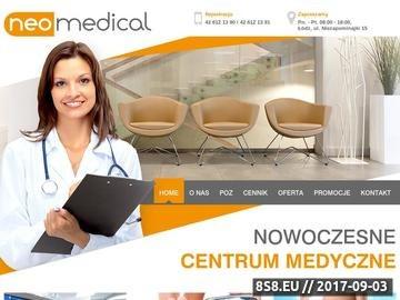 Zrzut strony Neomedical oferuje usługi lekarzy specjialistów oraz diagnostykę