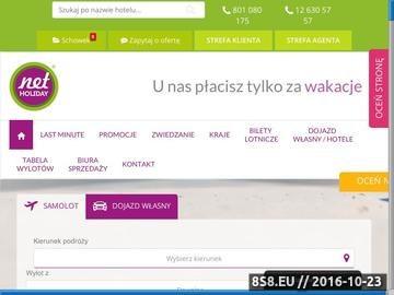 Zrzut strony Portal wyselekcjonowanych ofert turystycznych