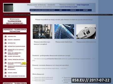 Zrzut strony Tłumaczenia techniczne z niemieckiego