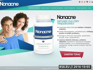 Zrzut strony Strona oferuje tabletki na każdy rodzaj trądziku