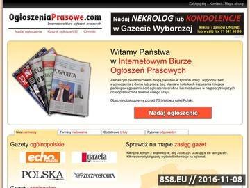 Zrzut strony Biuro Ogłoszeń Gazety Wyborczej