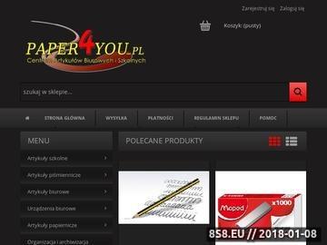 Zrzut strony Paper4You.pl Artykuły biurowe i szkolne, tusze i tonery - hurtownia online