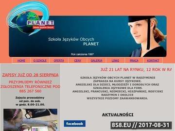Zrzut strony Szkoła Języków Obcych PLANET