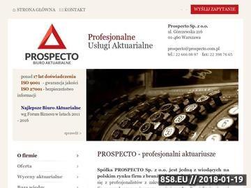 Zrzut strony Biuro Aktuarialne Prospecto - Usługi Aktuarialne