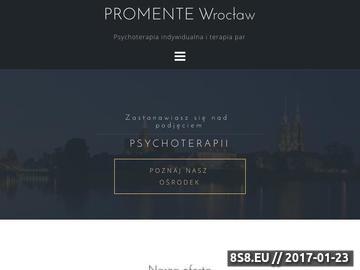 Zrzut strony Psychoterapia Wrocław, Terapia indywidualna oraz par w ośrodku Promente