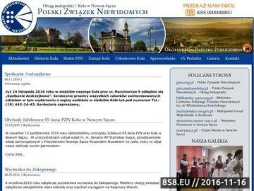 Zrzut strony Polski Związek Niewidomych - Koło w Nowym Sączu