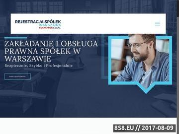 Zrzut strony Rejestracja spółek Warszawa
