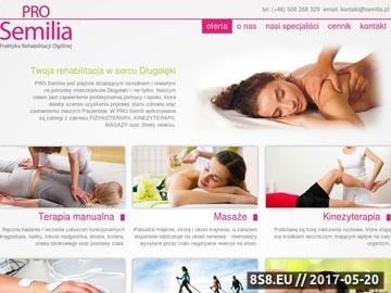 Zrzut strony PRO SEMILIA praktyka rehabilitacji ogólnej - zabiegi rehabilitacyjno-lecznicze