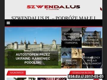 Zrzut strony Szwendalus.pl - blog podróżniczy