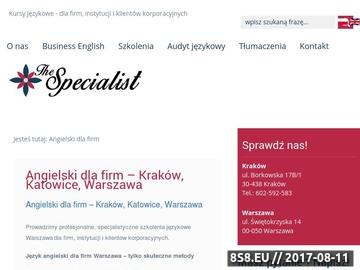 Zrzut strony Business English Kraków, Katowice